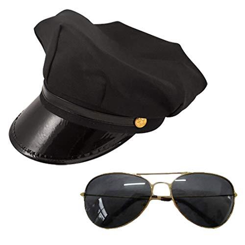 FashioN HuB Gafas de sol para hombre negro con marco dorado, 2 piezas, juego de accesorios, talla nica
