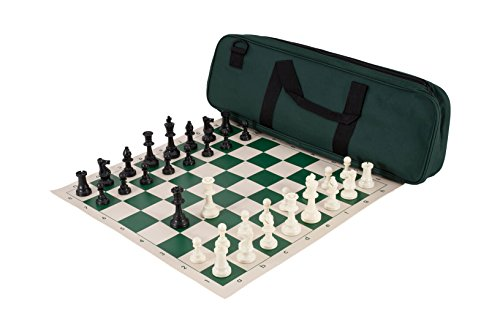 Deluxe Chess Set Combination - Triple Weighted - by US Chess Federation (Forest Green)