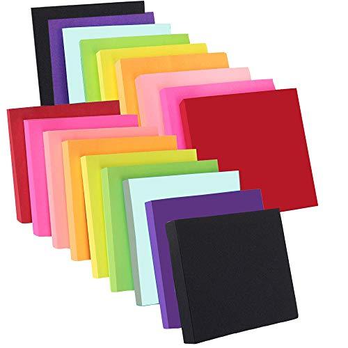 Innico 強粘着 付箋 ノート 蛍光鮮やかな9色 76 × 76mm 100枚×18パッド ポスト ふせん ノート 便利 文房具 事務用品