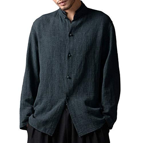 Camisas para Hombre Otoño Retro Estilo Chino Cuello Alto Camisas Sueltas Ocasionales de Manga Larga Camisas Casuales Europeas y Americanas para Todos los Partidos 5XL