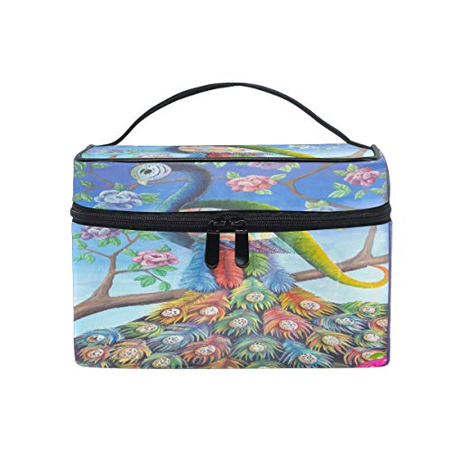 Makeup Bag, Peacock Tree Flower Portable Travel Case Large Print Cosmetic Bag Organizer Compartments for Girls Women Lady