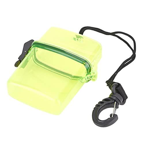 VGEBY Caja Seca de Buceo, 11x9.5x3cm Contenedor Submarino Transparente de plástico Caja de Sellado de Buceo con Gancho de Cuerda para Surf Canoa Kayak Buceo Snorkeling(Amarillo Transparente)