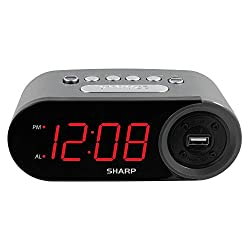 SHARP Digital Easy to Read Alarm Clock with 2 AMP High-Speed USB Charging Power Port - Charge Your Phone, Tablet with a high Speed Charge! Simple, Easy to Use Operation,Grey Case - Red LEDs