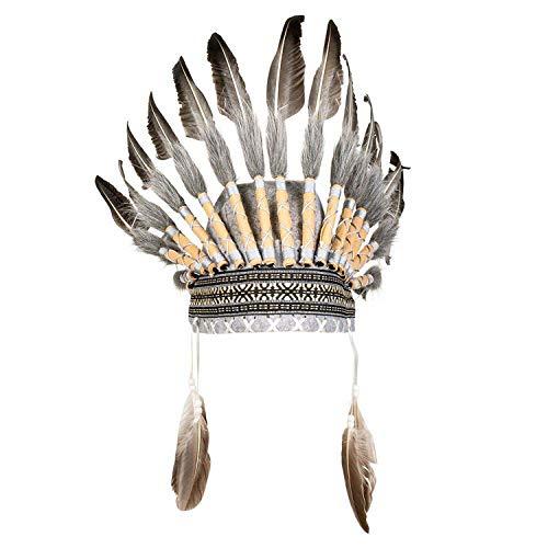 Boland 44091 - Kopfschmuck Indianer, mit Federn und Perlen, Häuptling, Wilder Westen, Kostüm, Karneval, Mottoparty