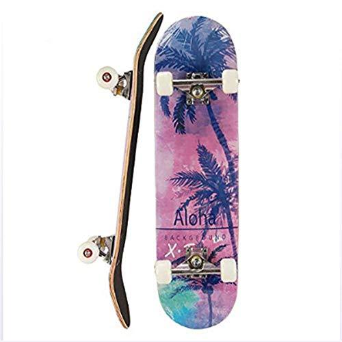 Keep Che Tabla de Skate Retro Maple Wood,Skates High Pro 31x7 Pulgadas,Skateboard Completo para Adultos y Niños con RotamientoABEC-9, 8 Capas de Madera de Arce Monopatin 80x20x11cm,Coconutbeach