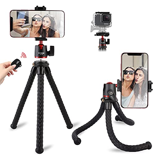 Tripod for iPhone, COMAN Flexible Camera Tripod, Hidden Phone Tripod Mount with Cold Shoe, Waterproof Tripod Stand for GoPro, Portable Travel Tripod with Remote for Live Streaming Vlog Video (Black)