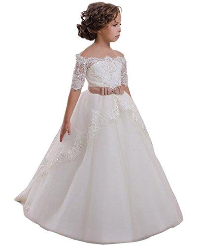 VIPbridal Vestido de niña de la Flor Blanca con Apliques de Encaje Vestido de Primera comunión (11)