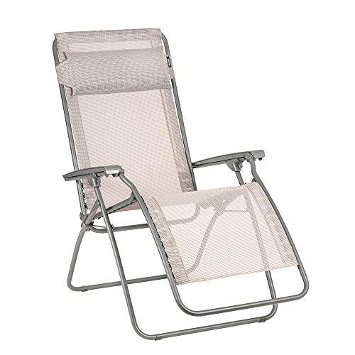 Lafuma R-Clip Zero Gravity Patio Recliner (Magnolia Pink Batyline Canvas) Outdoor Folding Lounge Chair