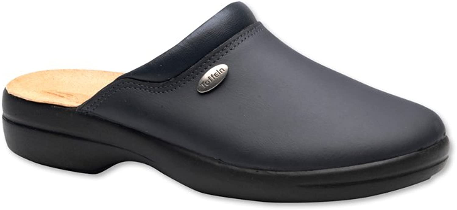 Alexandra Toffeln STC-NU970BK-9 Flex Lite Clog, Plain, Pu Coated Leather, Size  9, Black