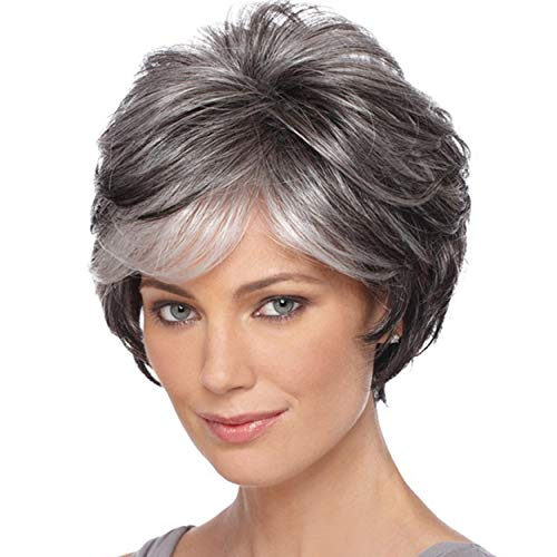 Short Grey Pixie Cut Wigs for Women layered Synthetic Hair Mixed Gray Wig with White Bangs Natural Wavy Wigs for Old Lady