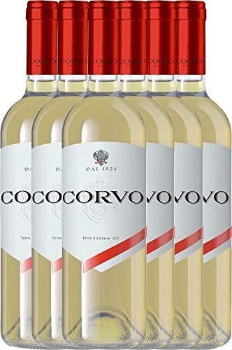 VINELLO 6er Weinpaket Weißwein - Corvo Bianco Terre Siciliane 2020 - DDS mit Weinausgießer   trockener Weißwein   italienischer Weißwein aus Sizilien   6 x 0,75 Liter