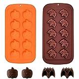 2 Pezzi Stampo per Cioccolato di Halloween Stampo per Fondente in Silicone Stampo per Torta a Forma di Pipistrello di Zucca per Cottura Fai da te e Bomboniere di Halloween, Colore Casuale