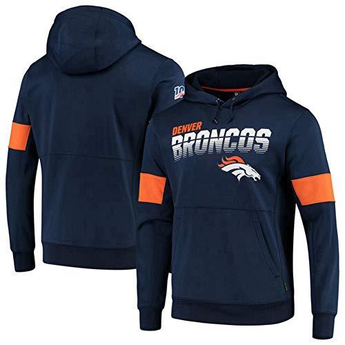 Herren Hoodies – NFL Denver Broncos Fußballmann-Uniform, Kapuzenpullover, Sweatshirt mit langen Ärmeln, Basketball, Trainingsanzug, Fitnessjacke, Größe L