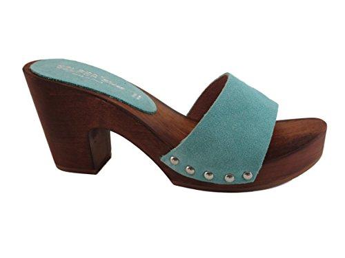 Silfer Shoes Susy B - Zueco de mujer de auténtica madera y piel de ante, color azul claro Size: 37 EU