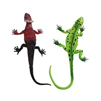 yotijar 2xカラフルな鮮やかな爬虫類動物ゴムモデルフィギュア教育玩具