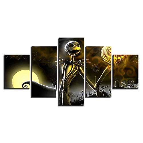 Deryut schildersdoek, 5-delige muurschildering Hd Modulaire muurkunst muursticker, horror-comics en spelen: de geest van Halloween, met frame, afmetingen: M/150 x 80 cm