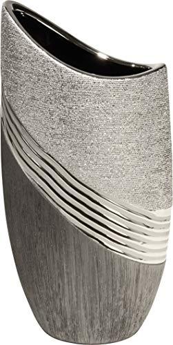Jarrón decorativo moderno de cerámica, color plata/gris, altura 30 cm