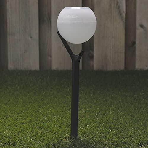Baliza luz solar LED exterior. Set 4. Luz blanca cálida. Sensor crepuscular encendido automático. Diseño moderno para...