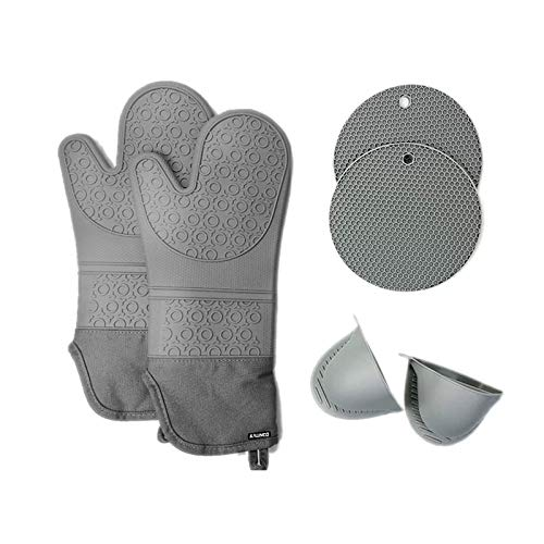 KALINCO Oven Mitts and Pot Holders SetsPack of 6NonSlip Heat Resistant Silicone Oven Mittens with Mini Cooking Pinch Mitts and Hot Pads Potholders for Kitchen Baking CookingGray