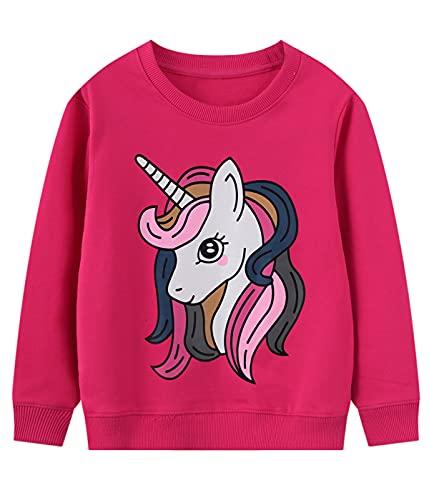 Little Hand Sudadera para niña de algodón, diseño de unicornio arcoíris, manga larga, 2-7 años, Rosa Rojo-Unicornio, 98 cm