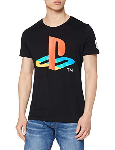 Sony Herren T-Shirt Sony Playstation Classic Logo and Colours, Schwarz (Black), X-Large