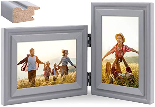 JD Concept Portafoto Verticale Orizzontale, Doppia Cornice Pieghevole in Legno 10x15 cm, da Tavolo o da Parete, Pannello in Vetro, Grigio