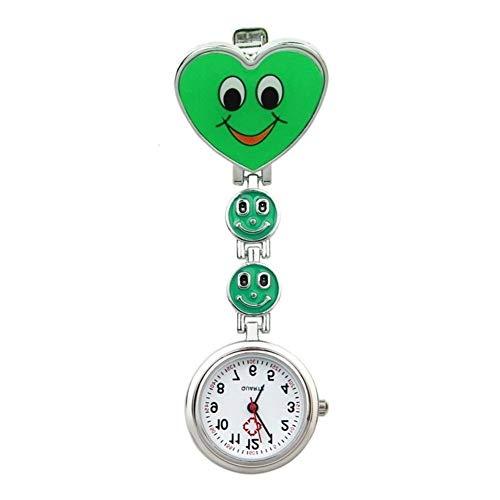 FGMGFTG Reloj de Broche Duradero Forma Simple Reloj Unisex del corazón de Cuarzo Reloj de Bolsillo de la túnica Movimiento Enfermera Broche Enfermero Doctor Paramédico Médico (Color : Green)