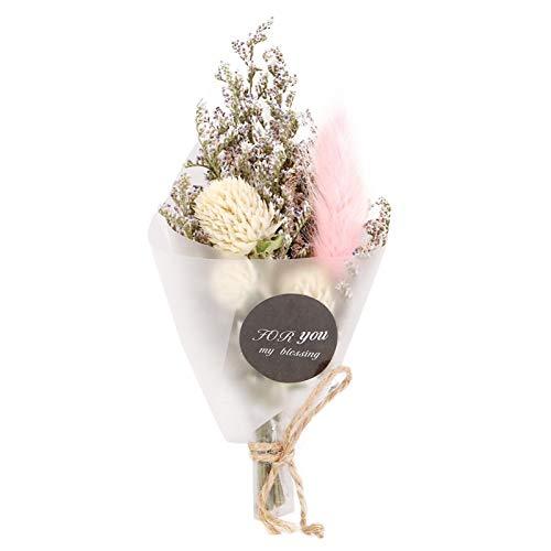 MXLY Kleiner Blumenstrauß Natural Dried Fower Hochzeitsdekoration Getrocknetes Schlafzimmer Flower (White Thousand Pink Rabbit-)