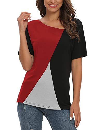 AUSELILY Camisetas de Manga Corta para Mujer Blusas Tops de túnica con Bloques de Color Patchwork.(Negro Rojo,36-38)