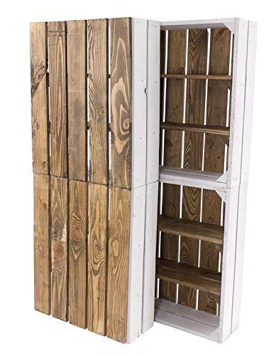 """4X Vintage-Möbel 24 Flache Holzkiste in weiß mit """"Used"""" Rückwand und Mittelbrettern 50cm x 40cm x 16cm Apfelkisten Obstkiste Weinkisten Weiss braun Vintage Holzschrank Ablageregal Holz gebraucht alt"""