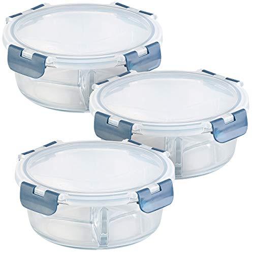 Rosenstein & Söhne Vorratsdosen Glas: 3er-Set Glas-Frischhaltedosen, 3 Kammern, Klick-Deckel, -20 bis 520°C (Glasdose mit Deckel)