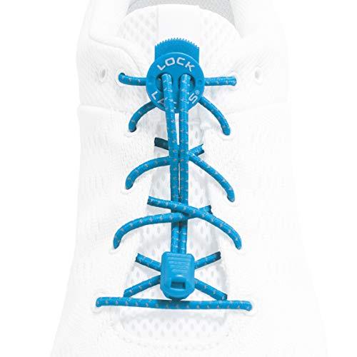 Lock Laces Reflective (Elastic No Tie Shoelaces) (Teal Blue)
