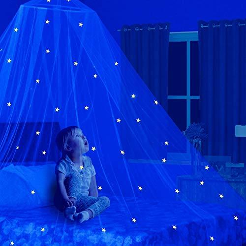 Dosel para cama de niños con estrellas Glow in the dark. Cuna para bebés. Tienda de campaña. Tiras de luces de estrellas. Mosquitera grande