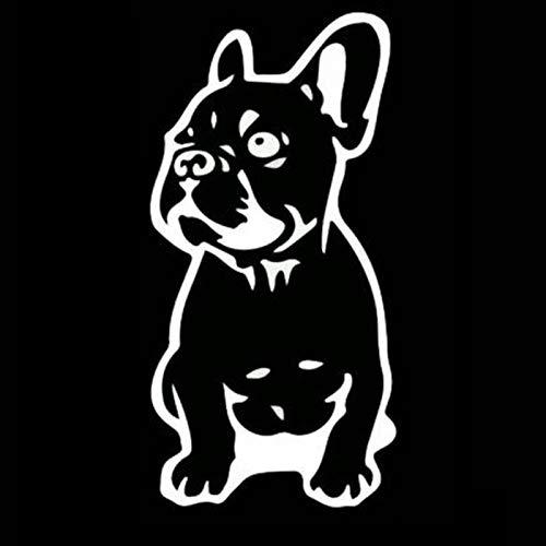 TWGDH 2 Stück 7,5 * 15,2 cm French Bulldog Dog Hundezucht-Vinyl Aufkleber Funny Animal Autoaufkleber Schwarz/Silber (Color Name : Silver)