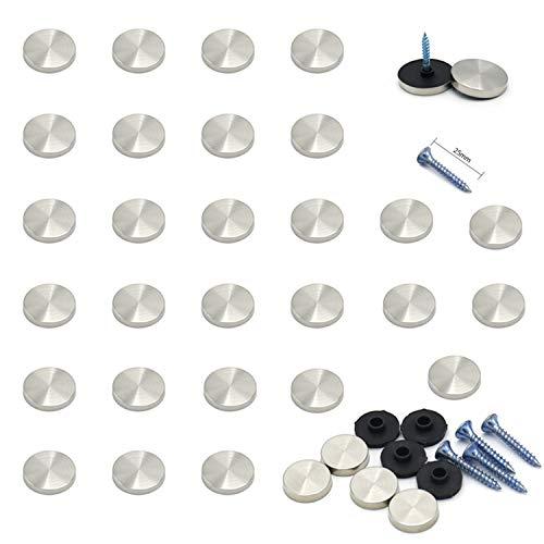 YouU 28 piezas Espejo Cubierta de tornillo de acero inoxidable/Embellecedor para Tornillos/Decorativos Tapon Tornillo (12mm)