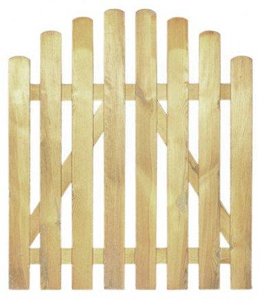 StaketenTür 'Premium' 100x100/120 cm - oben – kdi / V2A Edelstahl Schrauben verschraubt - aus getrocknetem Holz glatt gehobelt – oben gebogene Ausführung - kesseldruckimprägniert