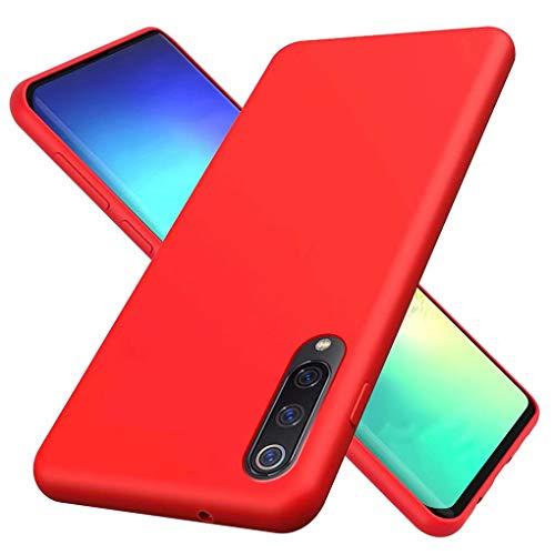 NiaCoCo Compatibile con Custodia Xiaomi Mi 9 Ultrasottile Antiurto Silicone Liquido Caso Gomma Morbida in Gel Copertura Protettiva Antigraffio(Rosso)