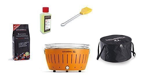 LotusGrill Barbecue XL Kit de démarrage 1x Lotus Barbecue Charbon de Bois de hêtre XL Mandarine Orange 1x 1kg, 1x Pâte Combustible 200ml, 1x Pinceau maïs Jaune, 1x XL Sacoche de Transport