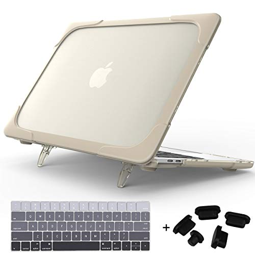 Mektron for MacBook Pro 13 inch Case A2159 A1989 A1706 A1708 (2016-2019 Release), Shockproof TPU Bumper Foldable Stand Plastic Hard Case with Keyboard Cover (Khaki)