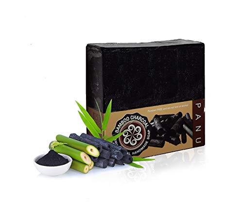Panu Schwarze Seife - Antibakterielle Seife gegen Unreine Haut - Natural Black Soap - Aktivkohle Seife Anti Pickel, Akne und Fettige Haut - Rasierseife Herren und Damen für Gesicht und Körper