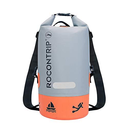 ROCONTRIP Bolsa impermeable Premium, saco con correa ajustable larga incluida, perfecta para kayak, canotaje, pesca, rafting, natación, camping, snowboard (gris, naranja, 40 L)
