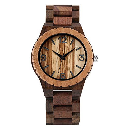 Reloj clásico de Madera para Hombre, a la Moda, Negro ébano y Nogal Relojes de Madera para Hombre, Correa Duradera de Madera Reloj de Pulsera para niño