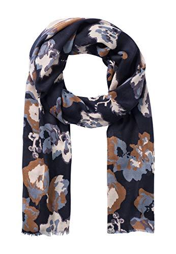 HALLHUBER Schal mit stilisiertem Blumenprint dunkelblau, One Size