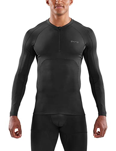 SKINS DNAmic Ultimate Mens L/S Top 1/2 Zip Black XL Long Sleeve Homme, FR Taille Fabricant