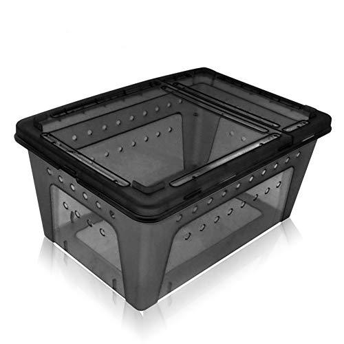 OMEM Portable Reptile Terrarium Habitat for Mini Pet Houses (Black-M)