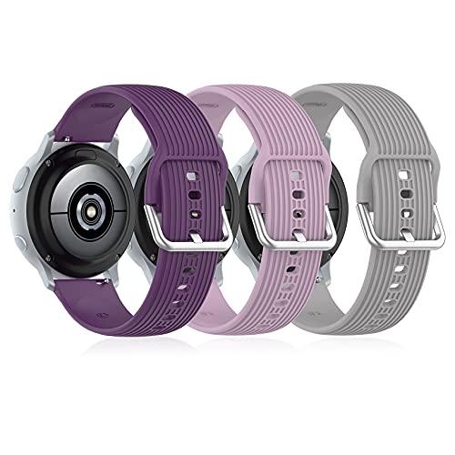 Correa de Reloj Inteligente 20 mm Correa de Repuesto de Silicona, Pulsera Deportiva Compatible con Samsung Galaxy Watch Active2 40 42 mm / Gear S2 / Garmin Vivoactive 3