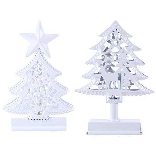 Minkissy Lot de 2 lampes en forme de sapin de Noël en fer pour décoration de bureau