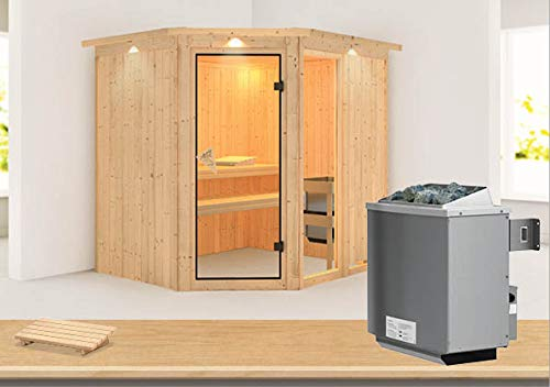 Fiona 2 - Karibu Sauna inkl. 9-kW-Ofen - mit Dachkranz -