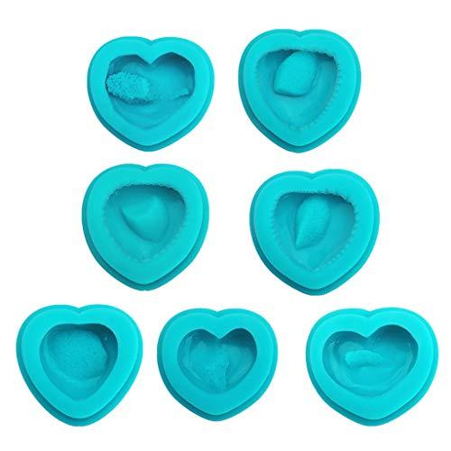 SORECA Kit de 6 moldes de resina de cristal de racimo natural con forma de corazón de druzy Geoda, herramientas para hacer joyas – A