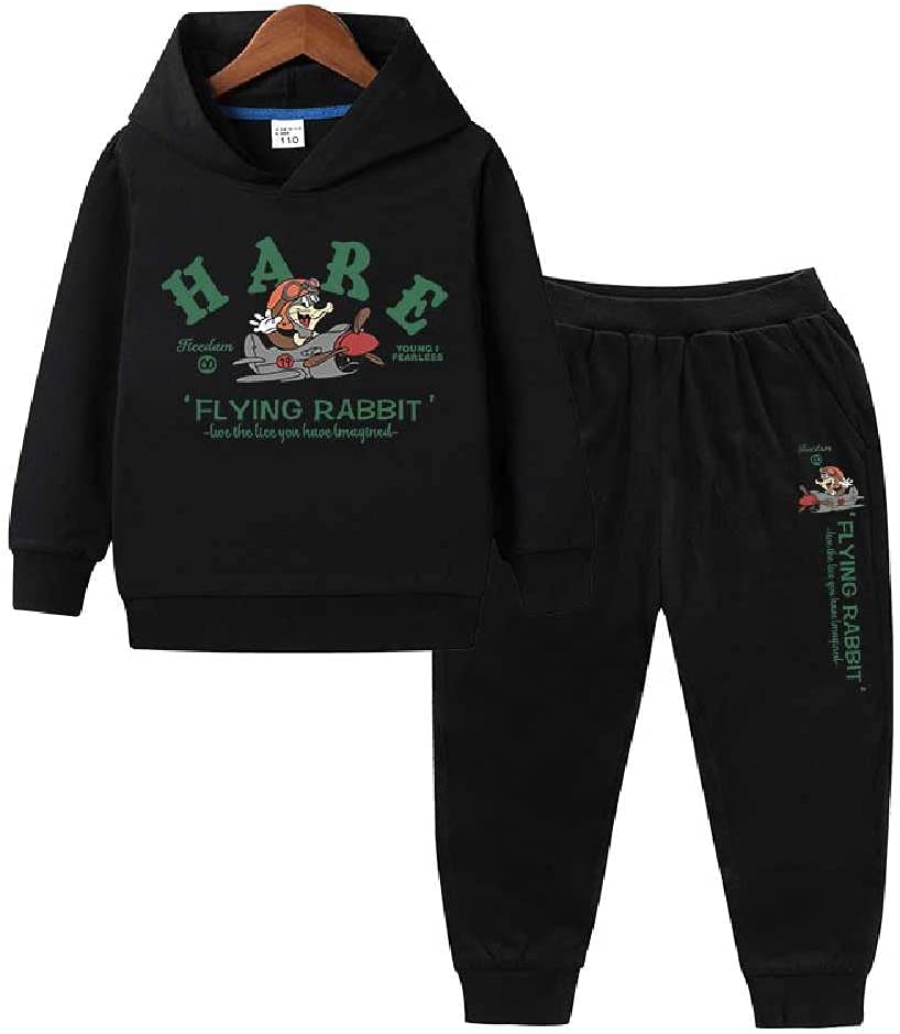 2021 Children's Clothing New Boys and Students Cotton Long-Sleeved Trousers Sports Two-Piece Children's Sweater Set Autumn Black + Black